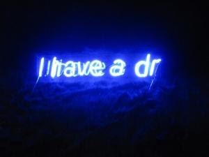 martini dream2, neon letters on fake fur, 2010