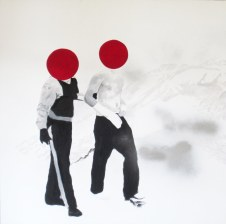 antidisestablishmentarianism, spray and acrylics on canvas, 130x130 cm, 2009