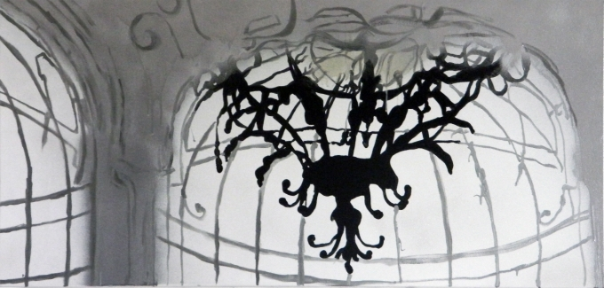 noble lies, acrylics & spray on canvas, 2011