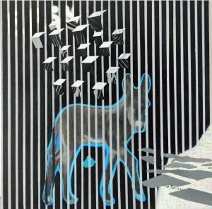 """""""easy"""", 120x120cm,  oil&spray on canvas, 2013-14"""