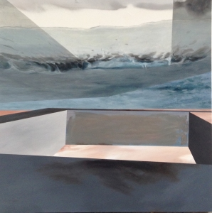 """""""go', oil on canvas & spray, 100x100cm, 2014"""
