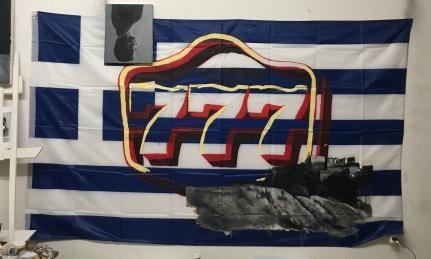 777, oil & acrylics on nylon flag