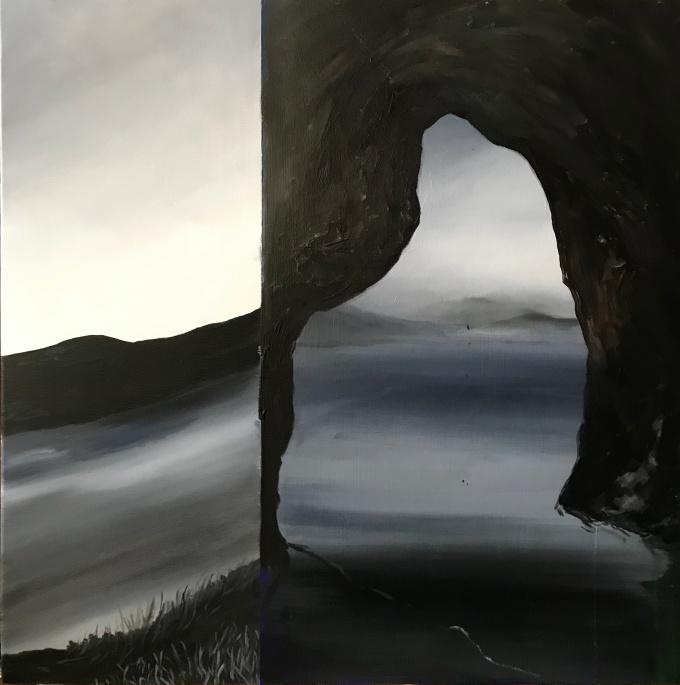 inout, oil on canvas, 50x5cm, 2020